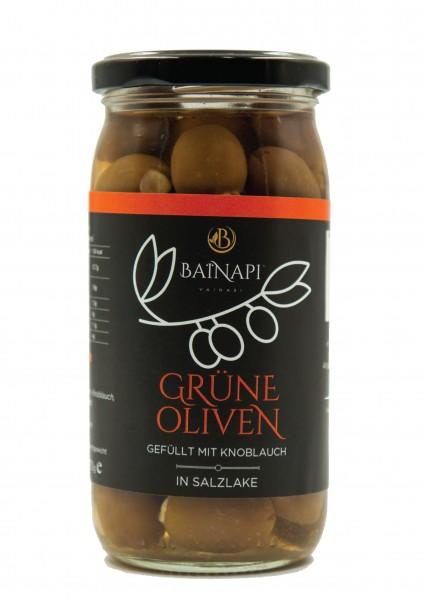 Grüne Oliven gefüllt mit Knoblauch (370g) Vainari