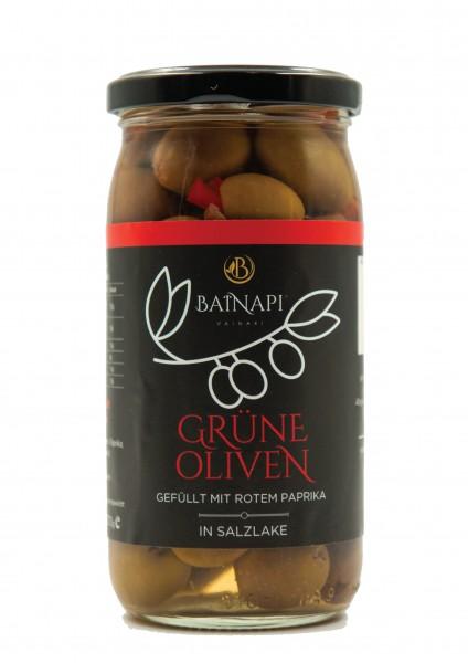 Grüne Oliven gefüllt mit Paprika (370g) Vainari