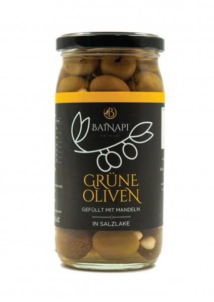 Grüne Oliven gefüllt mit Mandeln (370g) Vainari